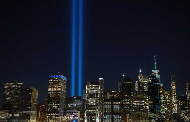 The annual 'Tribute in Light' marking the 20th anniversary of the 9/11 attacks on the World Trade Center shines in the skyline of lower Manhattan in New York, on September 10, 2021.